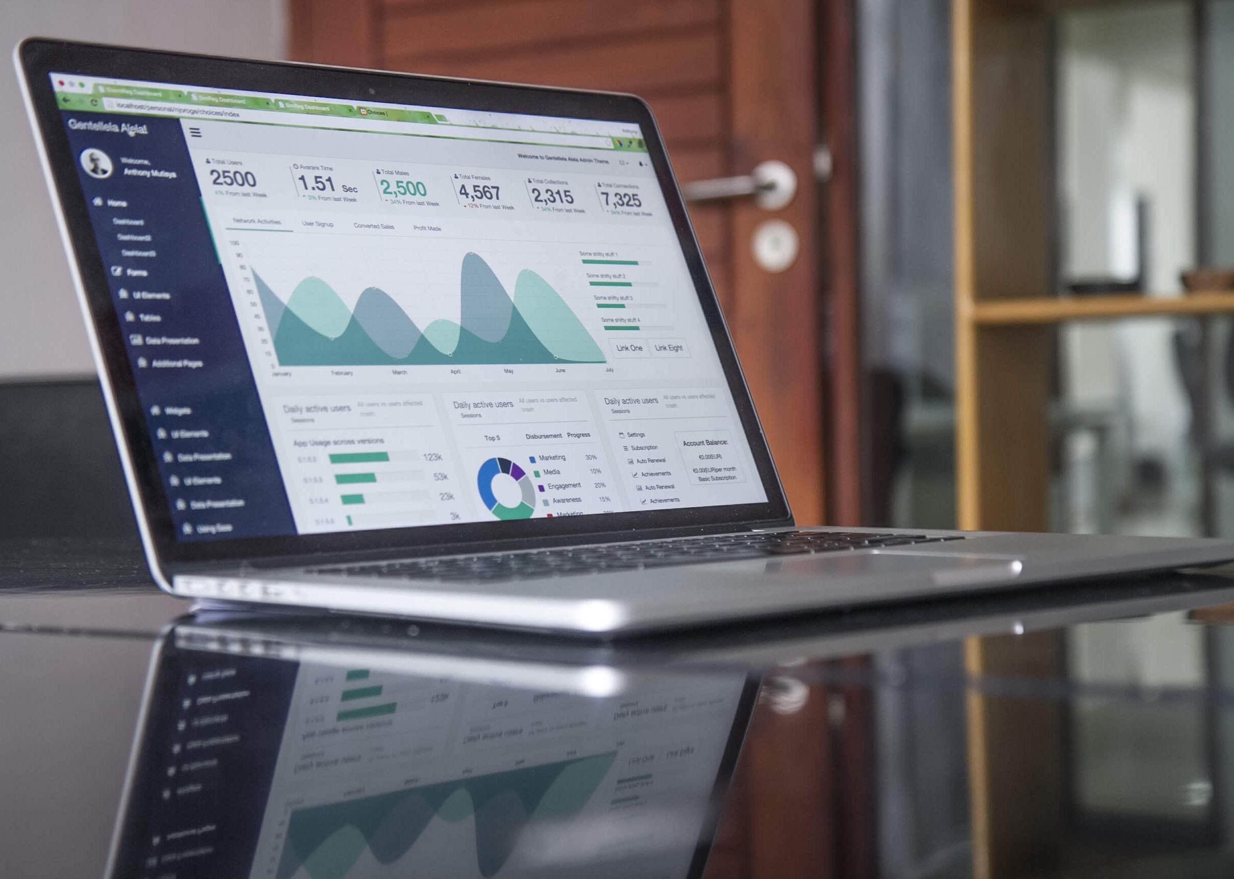 Computer mit Analyticstool auf Tisch